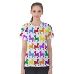 Colorful Horse Background Wallpaper Women s Cotton Tee