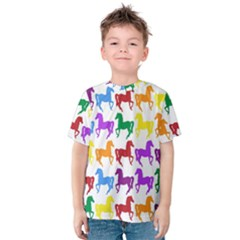 Colorful Horse Background Wallpaper Kids  Cotton Tee