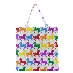 Colorful Horse Background Wallpaper Grocery Tote Bag