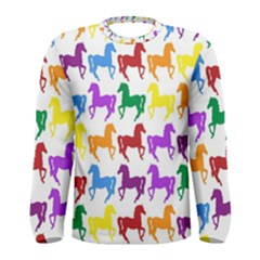 Colorful Horse Background Wallpaper Men s Long Sleeve Tee