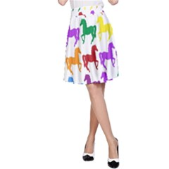 Colorful Horse Background Wallpaper A Line Skirt