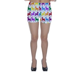 Colorful Horse Background Wallpaper Skinny Shorts