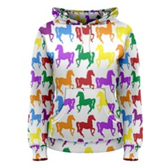 Colorful Horse Background Wallpaper Women s Pullover Hoodie