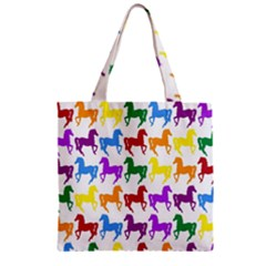 Colorful Horse Background Wallpaper Zipper Grocery Tote Bag