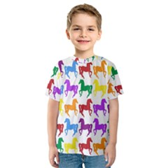 Colorful Horse Background Wallpaper Kids  Sport Mesh Tee