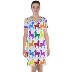 Colorful Horse Background Wallpaper Short Sleeve Nightdress