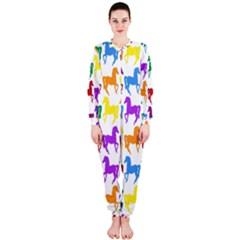 Colorful Horse Background Wallpaper Onepiece Jumpsuit (ladies)