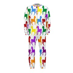 Colorful Horse Background Wallpaper Onepiece Jumpsuit (kids)
