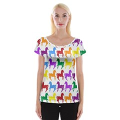 Colorful Horse Background Wallpaper Women s Cap Sleeve Top