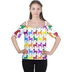 Colorful Horse Background Wallpaper Women s Cutout Shoulder Tee
