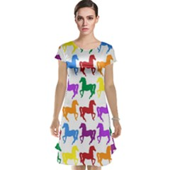 Colorful Horse Background Wallpaper Cap Sleeve Nightdress