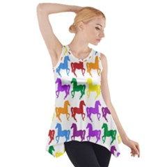 Colorful Horse Background Wallpaper Side Drop Tank Tunic