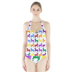 Colorful Horse Background Wallpaper Halter Swimsuit