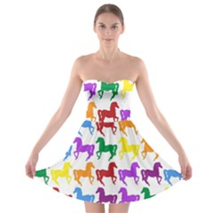 Colorful Horse Background Wallpaper Strapless Bra Top Dress