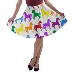 Colorful Horse Background Wallpaper A Line Skater Skirt