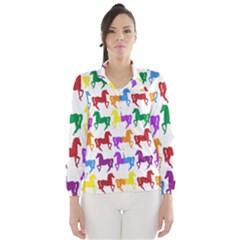 Colorful Horse Background Wallpaper Wind Breaker (women)
