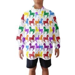 Colorful Horse Background Wallpaper Wind Breaker (kids)