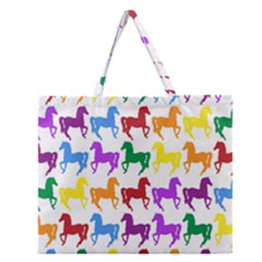 Colorful Horse Background Wallpaper Zipper Large Tote Bag