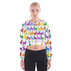Colorful Horse Background Wallpaper Women s Cropped Sweatshirt