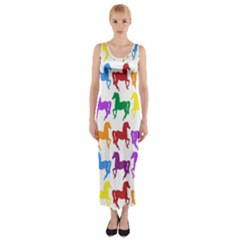 Colorful Horse Background Wallpaper Fitted Maxi Dress