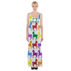 Colorful Horse Background Wallpaper Maxi Thigh Split Dress