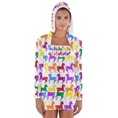Colorful Horse Background Wallpaper Women s Long Sleeve Hooded T Shirt