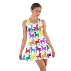 Colorful Horse Background Wallpaper Cotton Racerback Dress