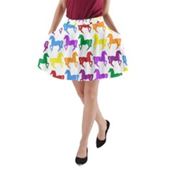 Colorful Horse Background Wallpaper A Line Pocket Skirt