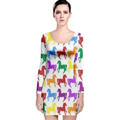 Colorful Horse Background Wallpaper Long Sleeve Velvet Bodycon Dress