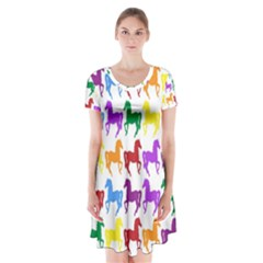 Colorful Horse Background Wallpaper Short Sleeve V Neck Flare Dress