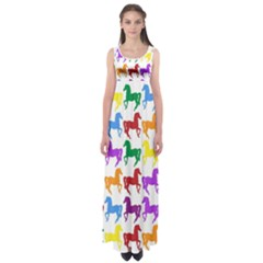 Colorful Horse Background Wallpaper Empire Waist Maxi Dress