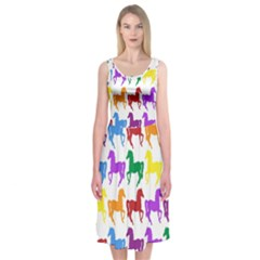 Colorful Horse Background Wallpaper Midi Sleeveless Dress