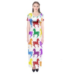 Colorful Horse Background Wallpaper Short Sleeve Maxi Dress