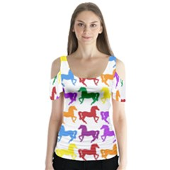 Colorful Horse Background Wallpaper Butterfly Sleeve Cutout Tee