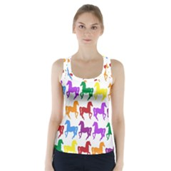 Colorful Horse Background Wallpaper Racer Back Sports Top