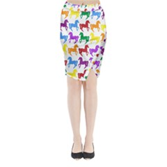 Colorful Horse Background Wallpaper Midi Wrap Pencil Skirt
