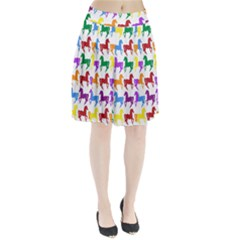 Colorful Horse Background Wallpaper Pleated Skirt