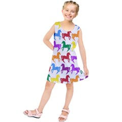 Colorful Horse Background Wallpaper Kids  Tunic Dress