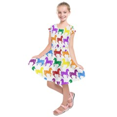 Colorful Horse Background Wallpaper Kids  Short Sleeve Dress