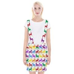 Colorful Horse Background Wallpaper Suspender Skirt