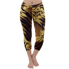 Stripes Tiger Pattern Safari Animal Print Capri Winter Leggings