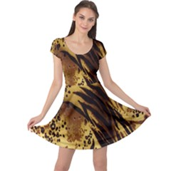 Stripes Tiger Pattern Safari Animal Print Cap Sleeve Dresses