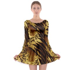 Stripes Tiger Pattern Safari Animal Print Long Sleeve Skater Dress