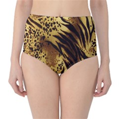 Stripes Tiger Pattern Safari Animal Print High-Waist Bikini Bottoms