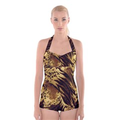 Stripes Tiger Pattern Safari Animal Print Boyleg Halter Swimsuit