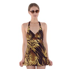 Stripes Tiger Pattern Safari Animal Print Halter Swimsuit Dress