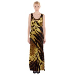 Stripes Tiger Pattern Safari Animal Print Maxi Thigh Split Dress