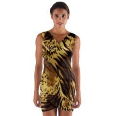 Stripes Tiger Pattern Safari Animal Print Wrap Front Bodycon Dress