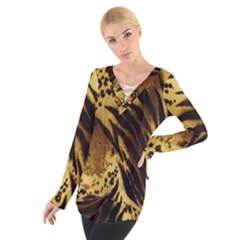 Stripes Tiger Pattern Safari Animal Print Women s Tie Up Tee