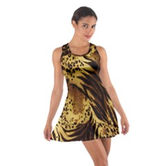 Stripes Tiger Pattern Safari Animal Print Cotton Racerback Dress